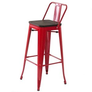 Барный стул Tolix Bar Stool 75 Backed Wood Red