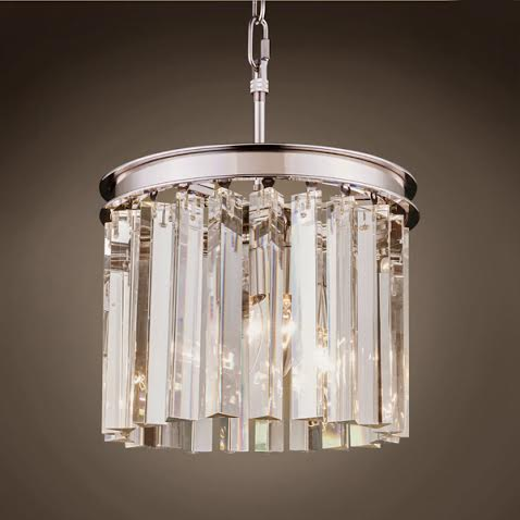 Люстра RH 1920S ODEON CLEAR GLASS 3 Light Round Chandelier 30
