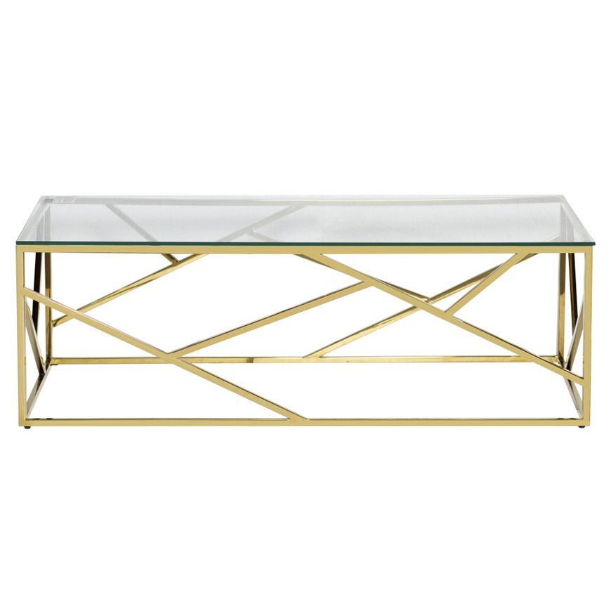 Кофейный стол Serene Furnishing Gold Clear Glass Top coffee table