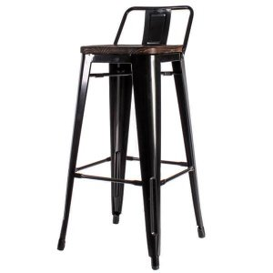 Барный стул Tolix Bar Stool 75 Backed Wood Black