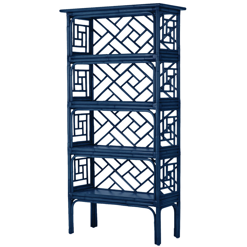 Стеллаж Синий Bamboo Chippendale Etagere Blue