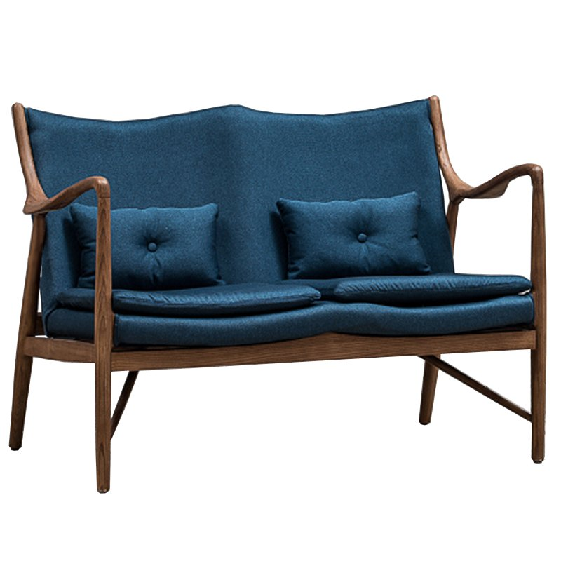 Диван Makeshift Loveseat Sofa blue linen