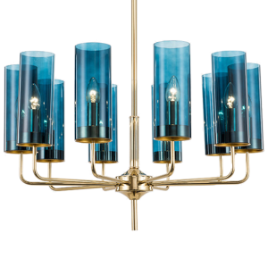 Люстра Hans-Agne Jakobsson Brass & Blue Glass Tube Chandelier 10