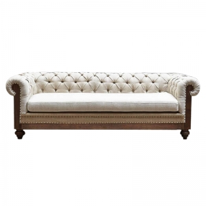 Диван Deconstructed Chesterfield Sofa triple Ivory Linen