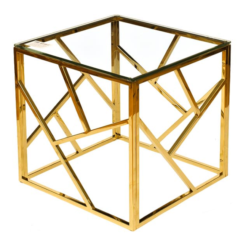 Приставной стол Serene Furnishing Gold Clear Glass Top Side Table