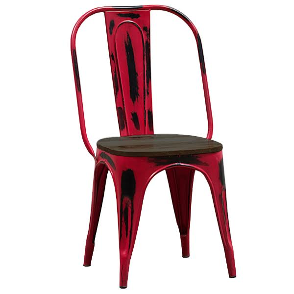 Кухонный стул Tolix Marais Chair Vintage Red Wood