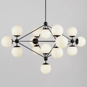Modo Chandelier Black and White Glass 15-21 Globes