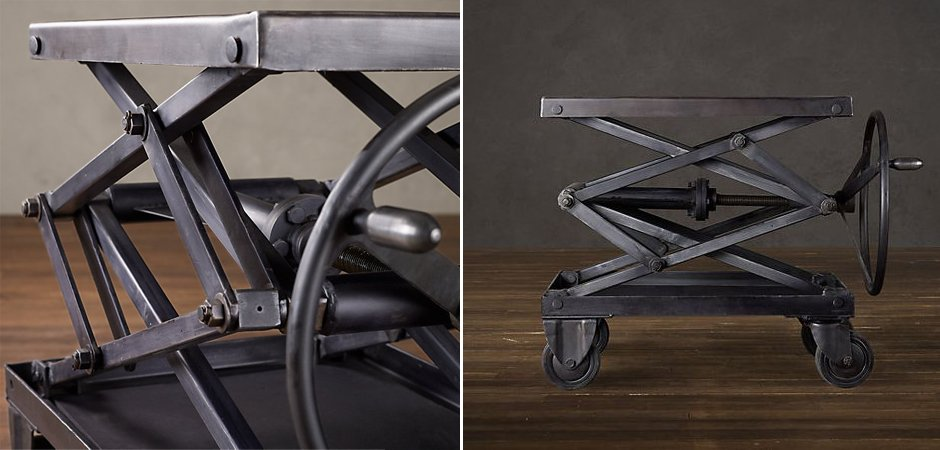 Industrial Scissor Lift Table Iron Restoration Hardware