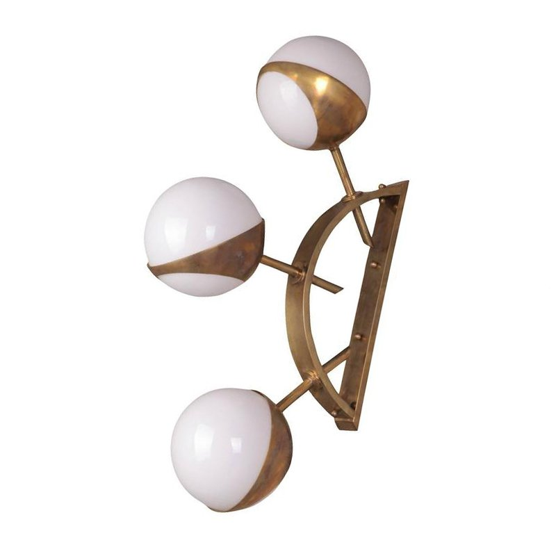 Бра Midcentury Style Triple Orb Brass and Glass Wall Lamp