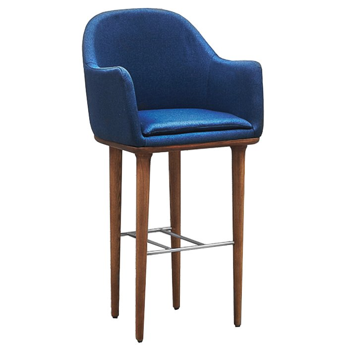 Барный стул Bar stool with soft armrests Navy blue