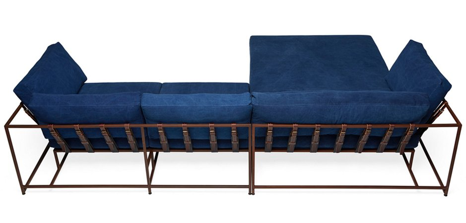 Угловой диван Indigo Denim and copper Sectional sofa