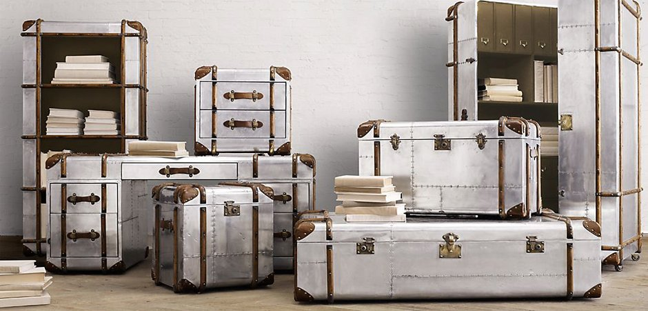 Restoration Hardware Polished Aluminum Trunks  купить в наличии