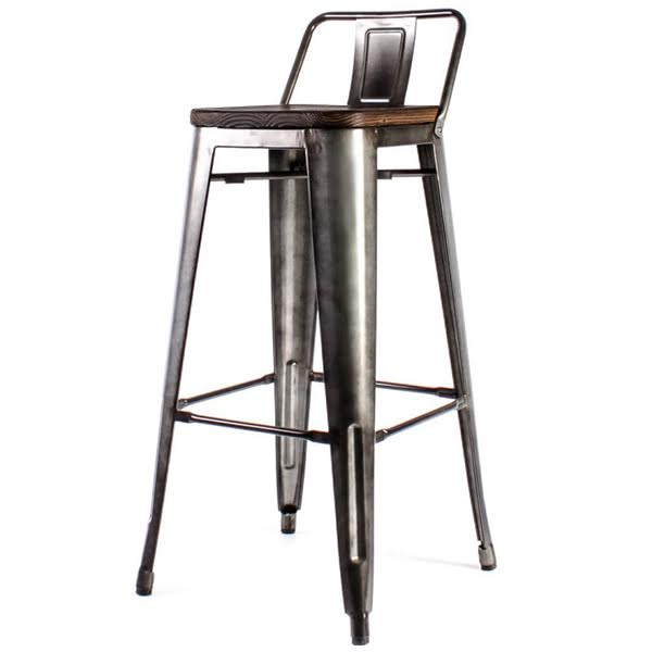 Барный стул Tolix Bar Stool 75 Backed Wood Silver