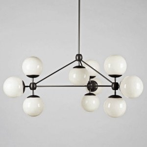 Modo 10 Globes Chandelier Black and White Glass