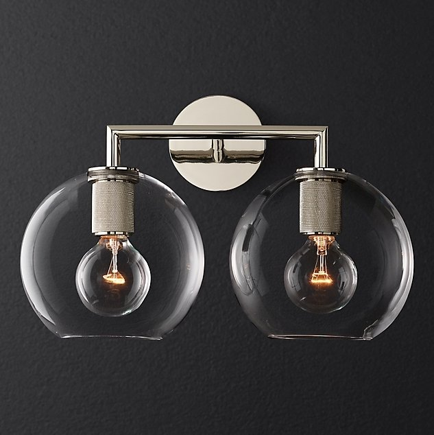 Бра RH Utilitaire Globe Shade Double Sconce Silver